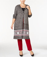 Style&Co. Style & Co. Plus Size Hooded Border-Pattern Duster Cardigan, Only at Macy's