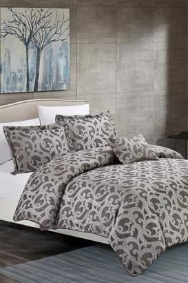 California Design Den King Ornate Scroll Comforter Set - Charcoal Gray