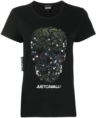 Just Cavalli embroidered skull logo T-shirt