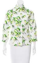Carolina Herrera Bird Print Button-Up Top