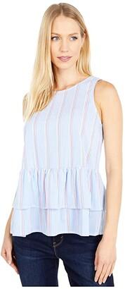 Vineyard Vines Nicholls Stripe Peplum Top (Bimini Blue) Women's Clothing