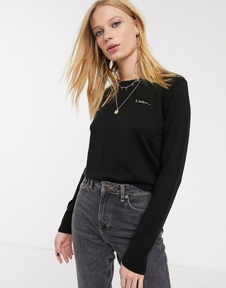 Topshop Christmas jumper with slogan in black