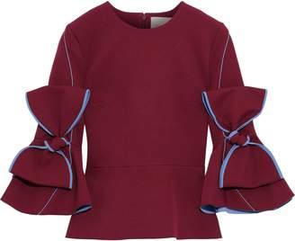 Roksanda Bow-embellished Cady Peplum Top
