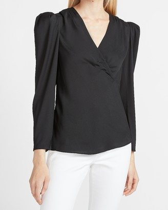 Express Pleated Puff Sleeve Deep V Top
