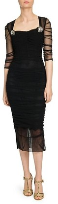 Dolce & Gabbana Double Tulle Ruched Dress