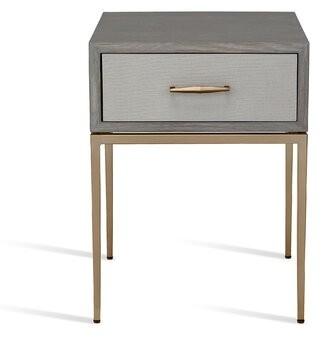 Interlude Corinna 1 - Drawer Nightstand Color (Top/Base/Hardware): Gray Wash Oak/ Light Gray/ Antique Brass
