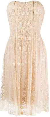 Blumarine Strapless Lace Dress
