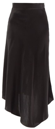 Raey Dip-hem Silk-satin Midi Slip Skirt - Black