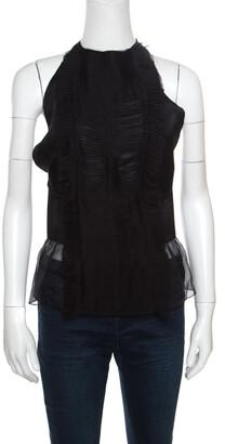 Alberta Ferretti Black Semi Sheer Silk Halter Tie Up Detail Peplum Top M