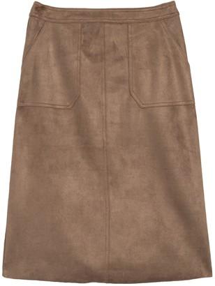 Catherine Malandrino Faux Suede Midi Skirt