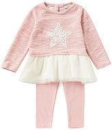 Jessica Simpson Baby Girls 12-24 Months Star-Appliqued Sparkle-Slub-Knit/Mesh Dress