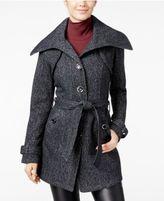 Amy Byer Juniors' Faux-Leather-Trim Fleece Coat