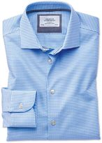 Charles Tyrwhitt Extra Slim Fit Semi-Cutaway Business Casual Non-Iron Modern Textures Sky Blue Cotton Dress Casual Shirt Single Cuff Size 14.5/32