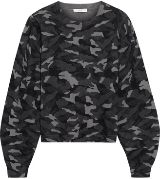 Joie Verna Printed Cotton And Cashmere-blend Sweater