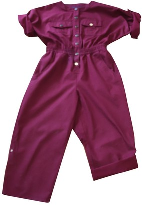 Vanessa Seward Burgundy Cotton Jumpsuit for Women