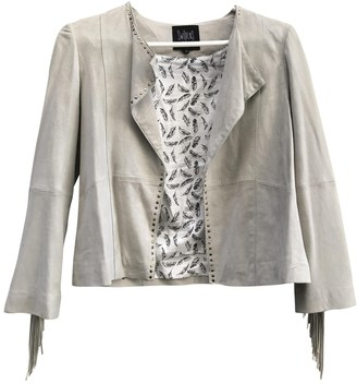 Swildens Ecru Suede Leather Jacket for Women