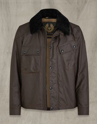 Belstaff Patrol Waxed Cotton Jacket With Shearling