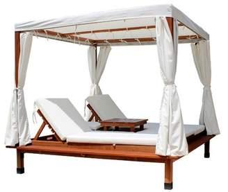 Leisure Season Cabana Sun Lounger Set with Cushions and Table Leisure Season