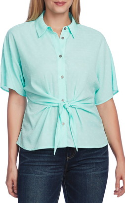 Vince Camuto Short Sleeve Drop Shoulder Tie Front Top