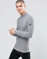 Armani Jeans Jumper With Textured Knit In Grey With Sleeve Logo