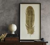 Pottery Barn Gold Leaf Feather Framed Print