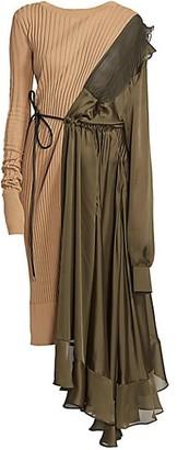 Sacai Eric Asymmetric Combo Knit Dress