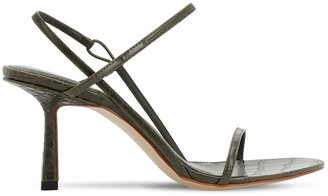 Studio Amelia 75mm Croc Embossed Faux Leather Sandals