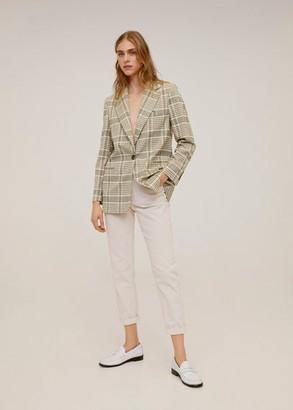 MANGO Check Structured blazer ecru - XS - Women