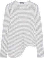 Bassike Asymmetric Striped Organic Cotton-jersey Top - Light gray