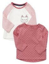 F&F 2 Pack of Cat Design and Polka Dot Long Sleeve T-Shirts, Infant Girl's