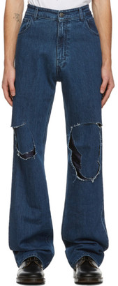 Raf Simons Navy Uneven Knee Patch Jeans