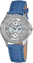 Burgi Women's BU44BU Round Diamond Classic Stainless Steel GMT Date Watch