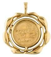 14K Hebrew Scroll Medallion Pendant