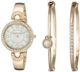 Anne Klein Women's AK/1960GBST Swarovski Crystal-Accented Gold-Tone Bangle Watch and Bracelet Set