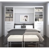 Beachcrest Home Storage Murphy Bed Color: White, Size: Full