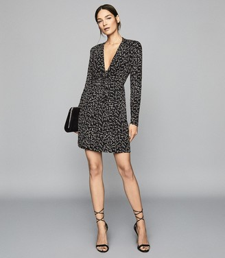 Reiss Julia - Plunge Front Mini Dress in Black