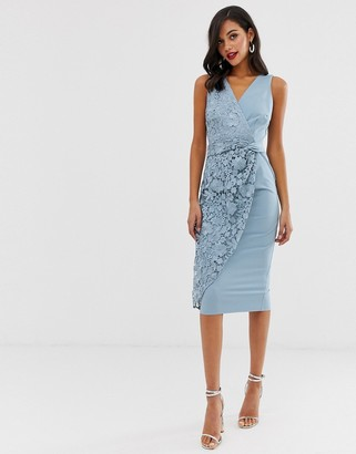 Little Mistress wrap pencil midi dress with lace detail