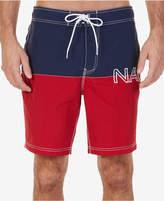 "Nautica Men's Colorblocked Logo-Print Quick-Dry 8"" Swim Trunks"