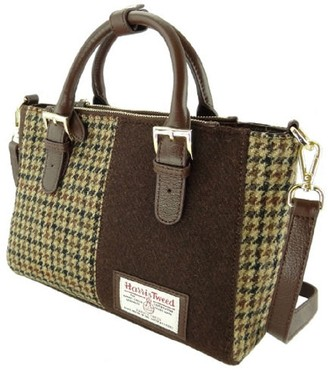 Glen Appin Ladies Harris Tweed Panel Leather Handbag LB1402 (Brown Col27)