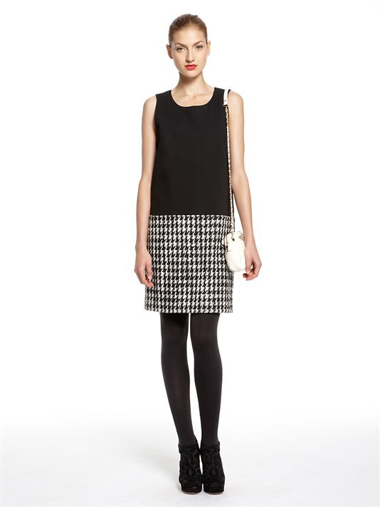 DKNY Houndstooth Tweed Sleeveless Shift Dress With Luxe Ponte Bodice