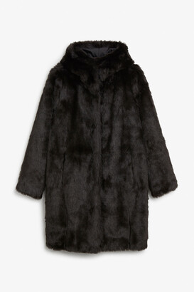 Monki Hooded faux fur coat