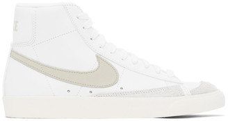 Nike White and Beige Blazer Mid 77 Vintage Sneakers