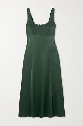 ALEXACHUNG Scalloped Satin Midi Dress - Dark green