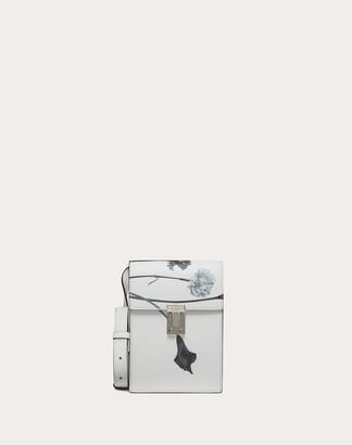 Valentino Garavani Uomo Flowersity Leather Crossbody Bag Man Optic White 100% Pelle Bovina - Bos Taurus OneSize