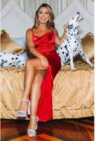 Quiz Sam Faiers Red Satin Cowl Neck Split Maxi Dress