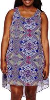 My Michelle Sleeveless Lace-Back Chiffon Dress - Juniors Plus