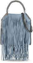 Stella McCartney duck blue falabella shaggy deer fringed mini tote