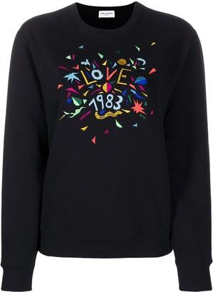 Saint Laurent Love 1983 embroidered sweatshirt