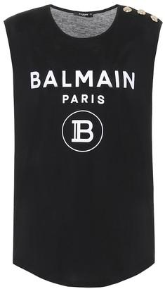 Balmain Logo cotton tank top