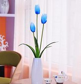 Artificial Flower SituMi Situmi Artificial Fake Flowers European Style Tulip Living Room Glass Vase Transparent Decoration Tv Cabinet Blue Home Accessories
